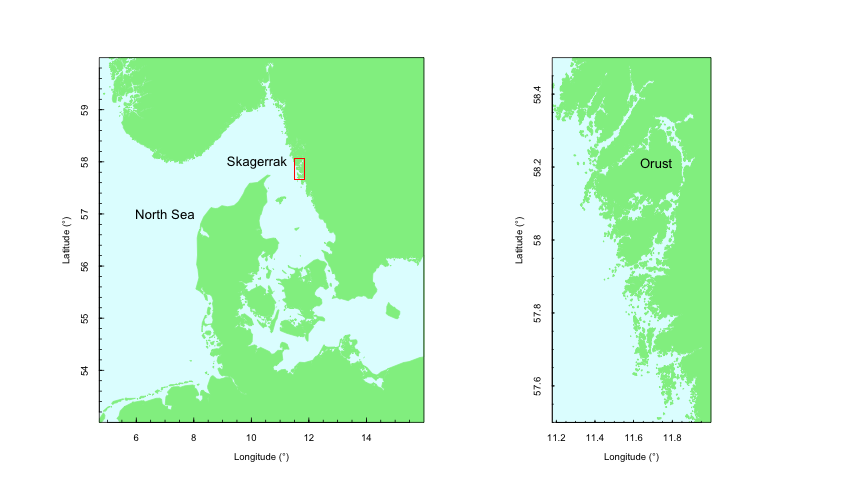 map of north sea and skagerrak and orust
